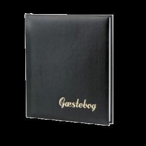 Gæstebog Sort M. Guldtryk - 23X25 Cm