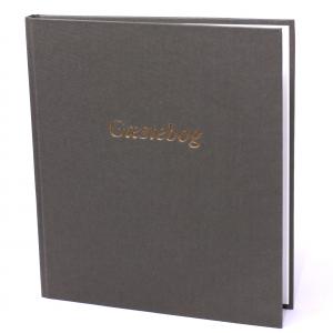 Gæstebog Lærred M/Tryk - 23X25 Cm Oliven Grøn