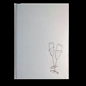 """Gæstebog Hvid Perlemor M/Sølv Tryk """"Glas""""- 23X25Cm"""