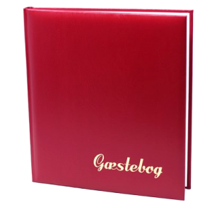 Gæstebog Rødbrun Balacrom M. Guldtryk - 23X25 Cm