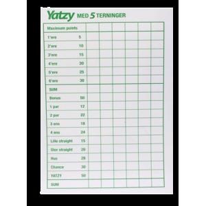 Yatzy Blok Til 5 Terninger (3 Pak)