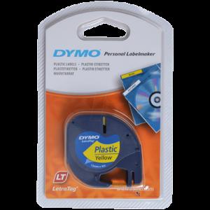 91222-Dymo Letratag Plasttape P. - Gul