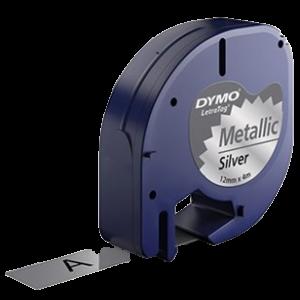 91228-Dymo Letratag Metallictape - Sølv