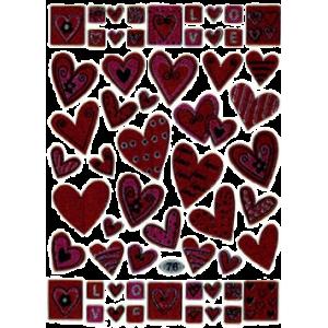 Stickers Pink Hjerter / Bogstaver