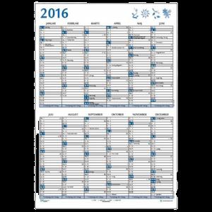 A2 Dobbelt Vægkalender 2 X 6 Mdr. Blå - 2020