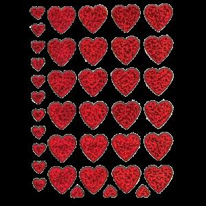 Stickers Røde Glimmer Hjerter