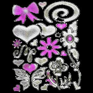 Stickers Pink / Sølv Hjerter & Sløjfer