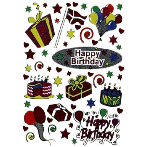 Stickers Tillykke / Happy Birthday
