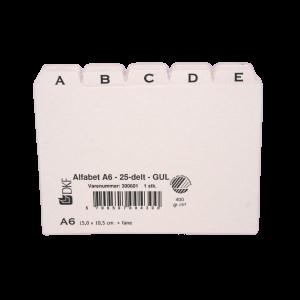 Kartoteksalfabet Dkf -  A, 25-Delt Gul