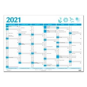 Kæmpe Vægkalender 2020 -2X6 Mdr - Blå 98X68,5Cm