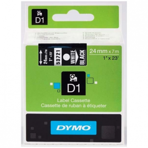 53721-Dymo D1 Tape - 24Mm - Hvid/Sort