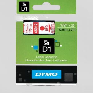 45012-Dymo D1 Tape - 12Mm - Rød/Klar