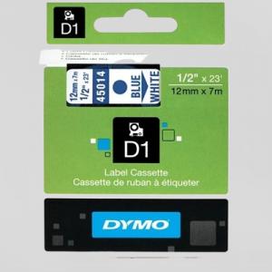 Dymo D1 Tape - 12Mm - Blå/Hvid 45014