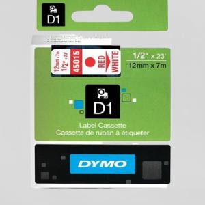 45015-Dymo D1 Tape - 12Mm - Rød / Hvid