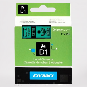 53719-Dymo D1 Tape - 24Mm - Sort/Grøn